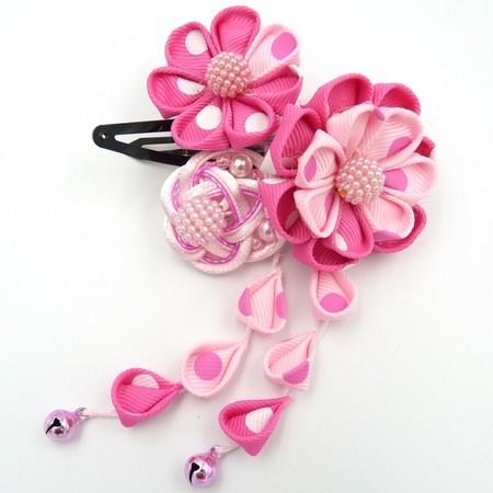 つまみ細工 髪飾り パッチン留め ピンク