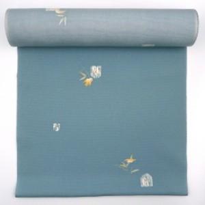 〈反物〉正絹小紋 ブルーグレー 竹 雀