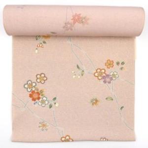 〈反物〉正絹小紋 淡ピンク 四季の草花