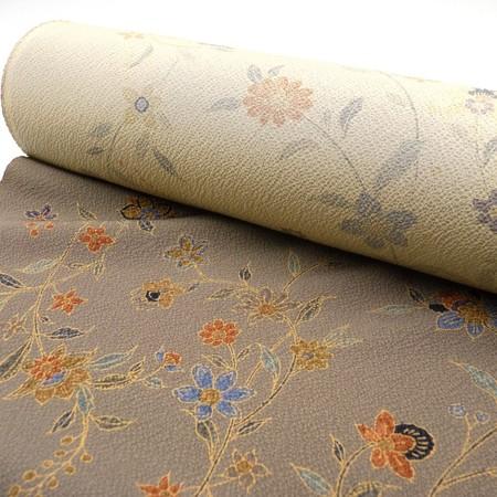 〈反物〉正絹 高級地染 薬草柄小紋 チャコールグレー 樺茶色 更紗柄