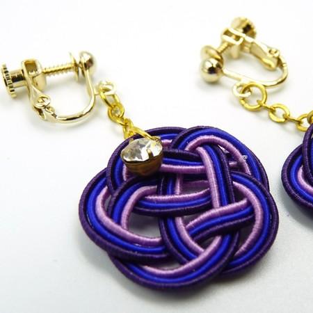 水引細工 イヤリング 紫 梅結び