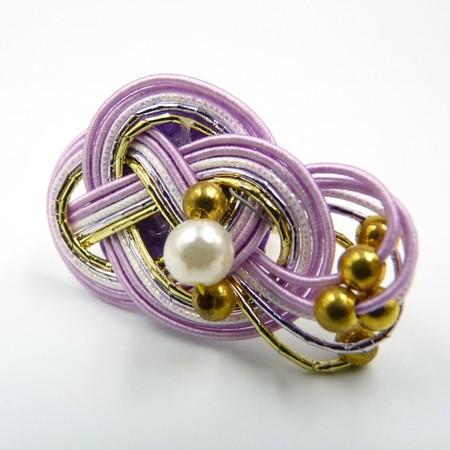 水引細工 指輪 紫 淡路結び