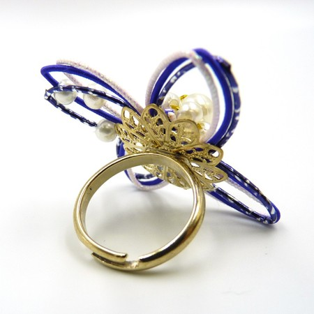 水引細工 指輪 紺×シルバー