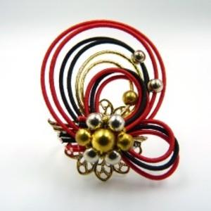 水引細工 指輪 赤×黒