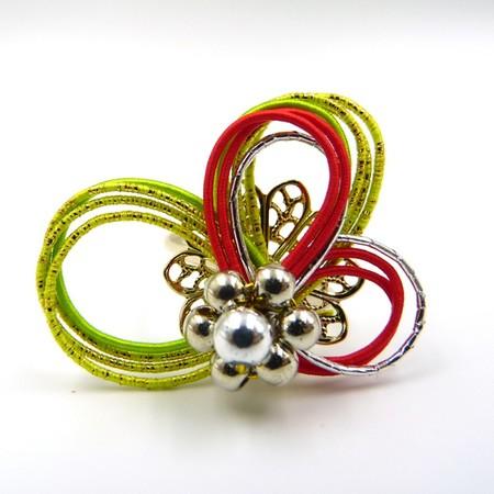 水引細工 指輪 黄緑×赤
