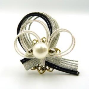 水引細工 指輪 黒×シルバー