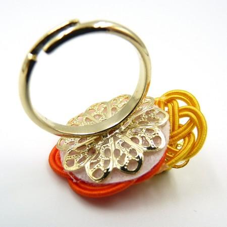 水引細工 指輪 オレンジ×黄 梅結び