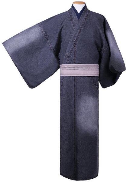 《メンズLサイズ》デニム着物 巡-MEGURU- ブラック ダメージ