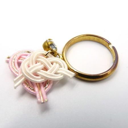 水引細工 揺れるリング 指輪 白×ピンク 淡路結び