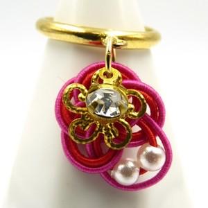 水引細工 揺れるリング 指輪 赤×ピンク 梅結び
