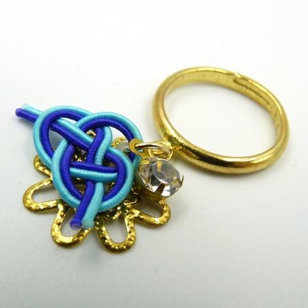 水引細工 揺れるリング 指輪 青 淡路結び