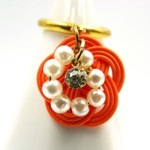 水引細工 揺れるリング 指輪 オレンジ 梅結び