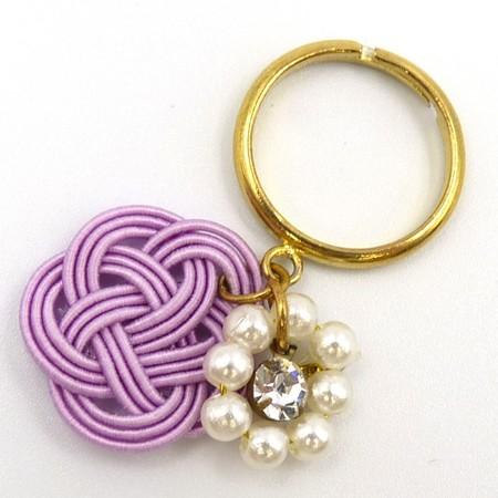 水引細工 揺れるリング 指輪 紫 梅結び