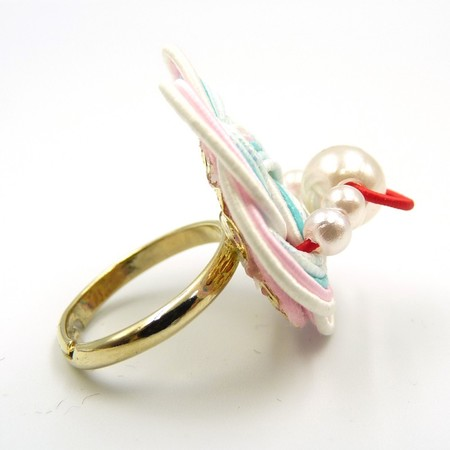 水引細工 指輪 白×ピンク×水色 梅結び