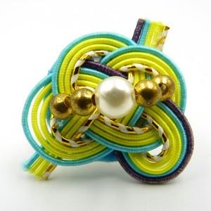 水引細工 指輪 水色×黄色