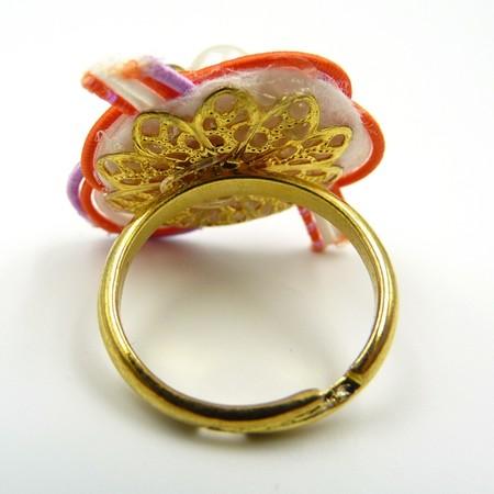 水引細工 指輪 オレンジ×白