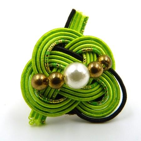 水引細工 指輪 黄緑
