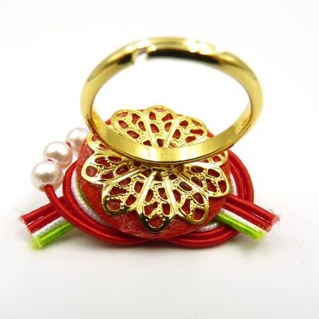 水引細工 指輪 赤×黄緑 淡路結び