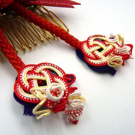 HANAOTOME 髪飾り 水引細工 くみ紐 赤