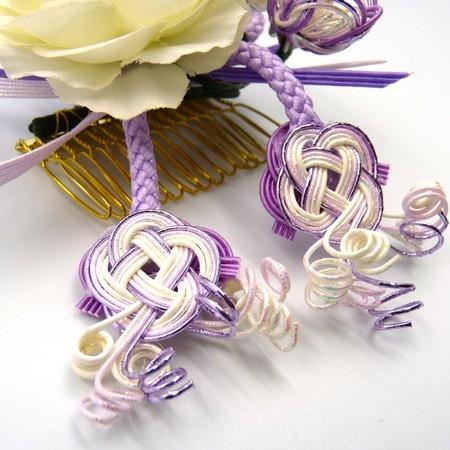 HANAOTOME 髪飾り 水引細工 くみ紐 紫